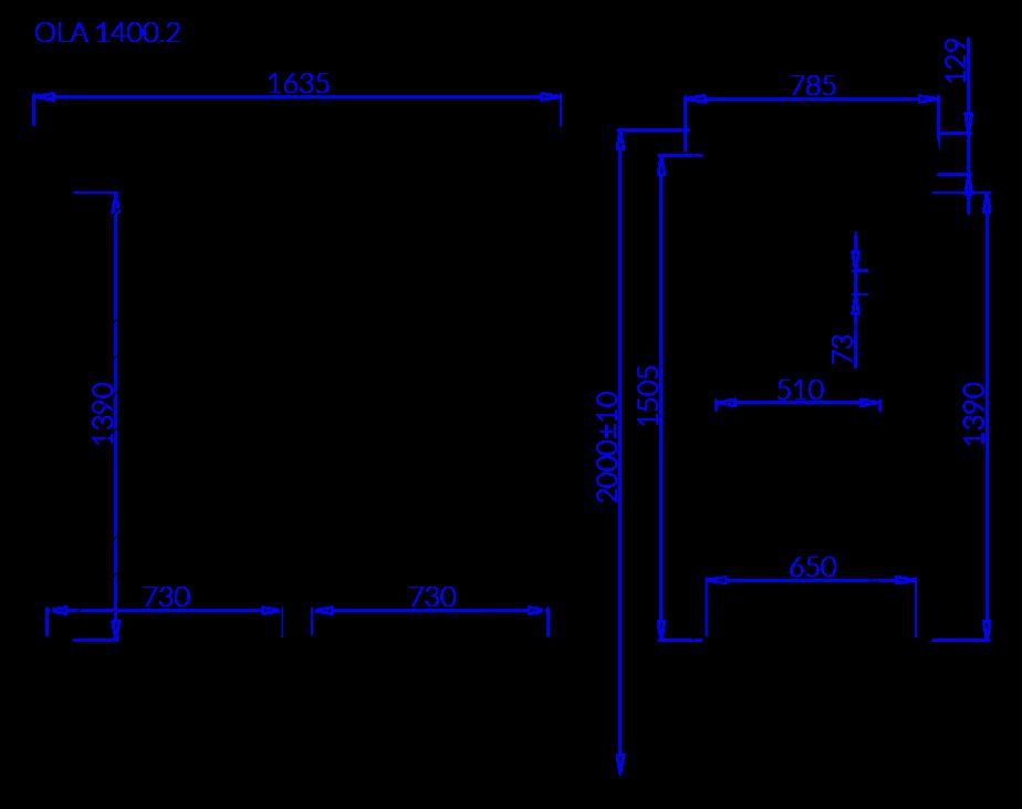 Rysunek techniczny Napojowa szafa chłodnicza OLA 2 NAP