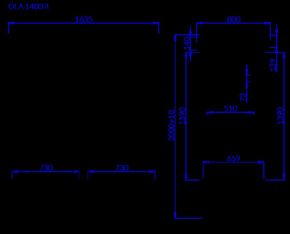 Rysunek techniczny Szafa chłodnicza OLA 4