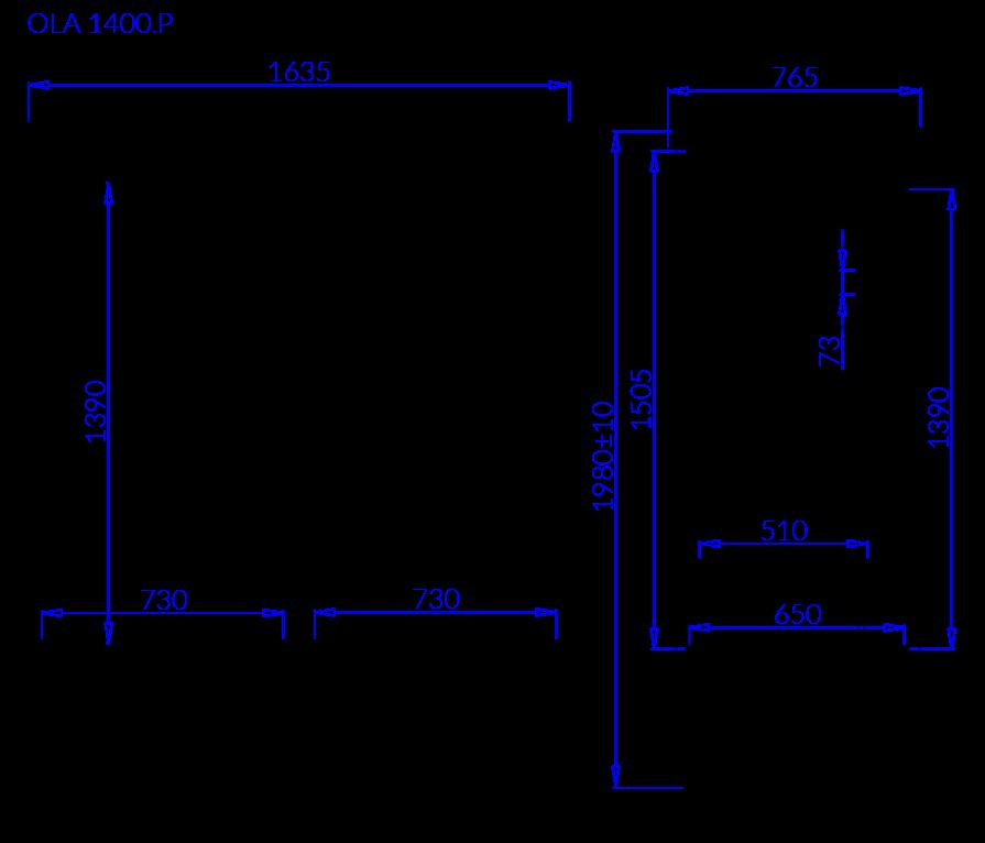 Rysunek techniczny Szafa chłodnicza OLA P