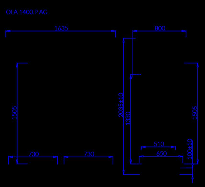 Rysunek techniczny Szafa chłodnicza OLA P AG