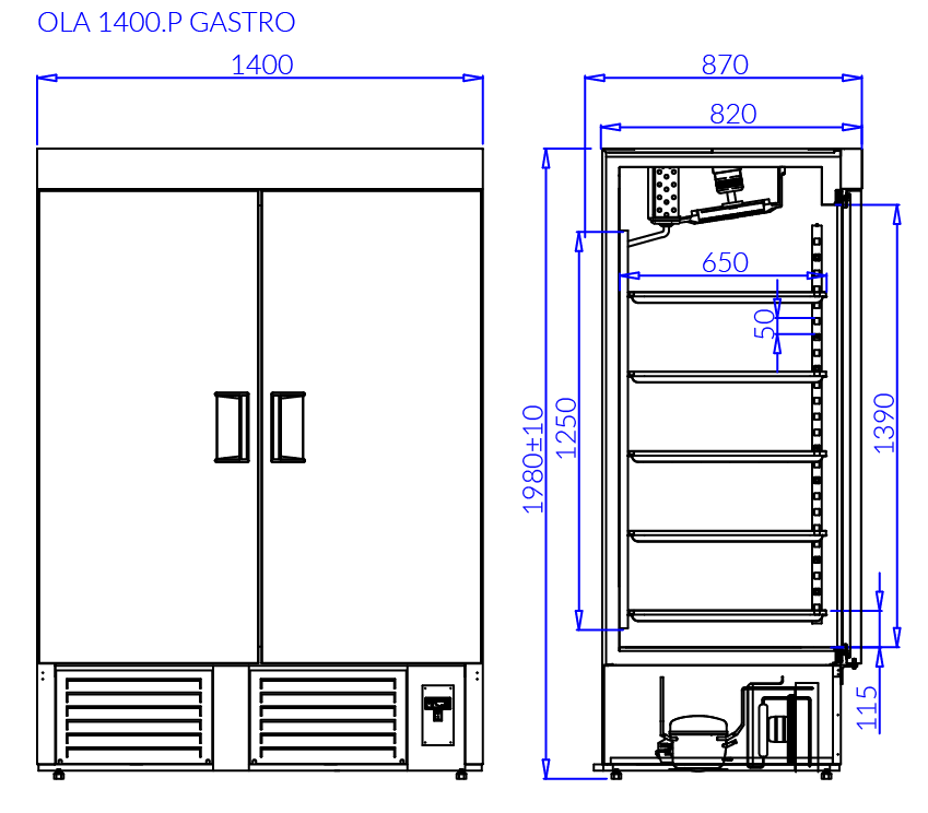 Rysunek techniczny Szafa chłodnicza OLA P GASTRO