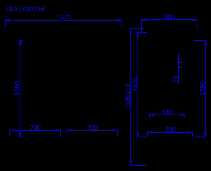 Rysunek techniczny Szafa mroźnicza OLA P M