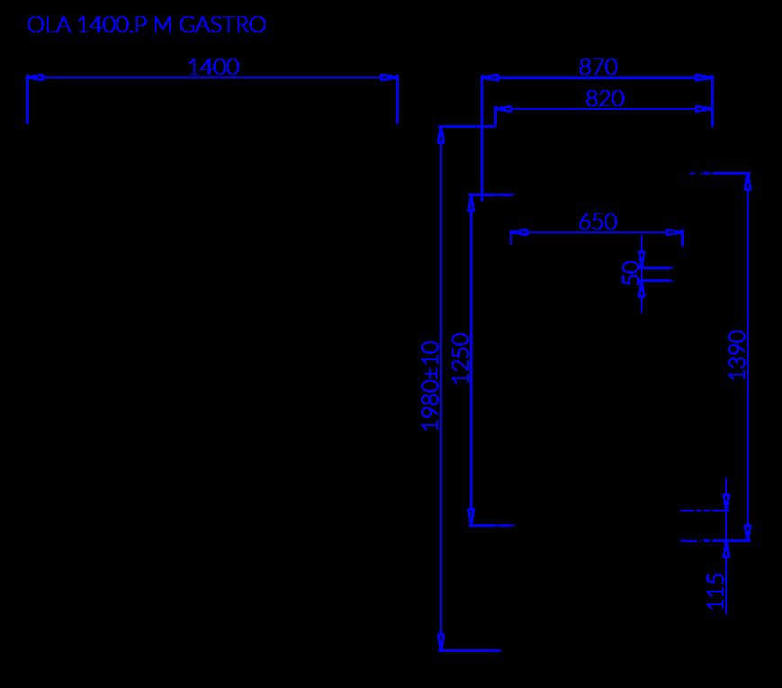Rysunek techniczny Szafa mroźnicza OLA P M GASTRO