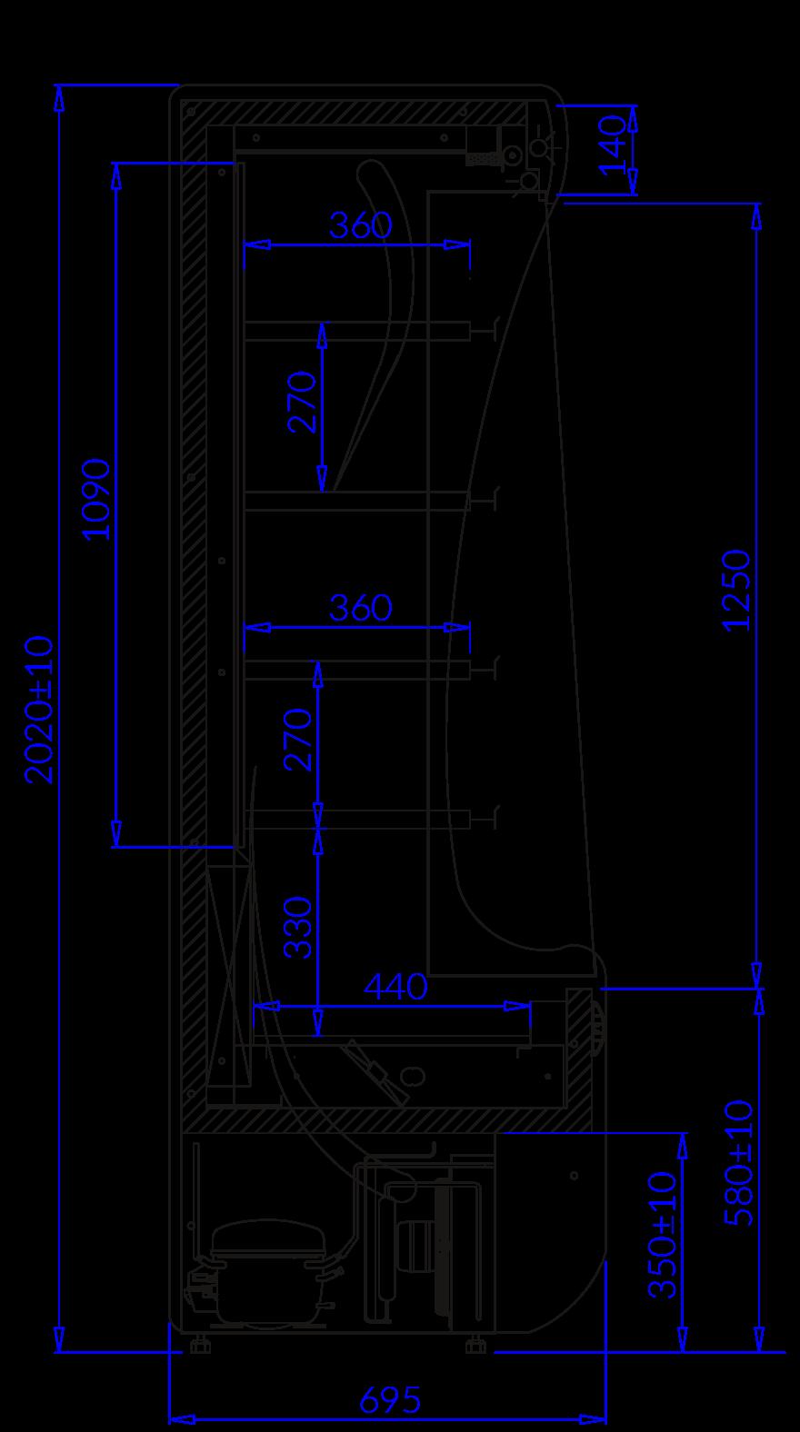 Rysunek techniczny Regał chłodniczy PAROS