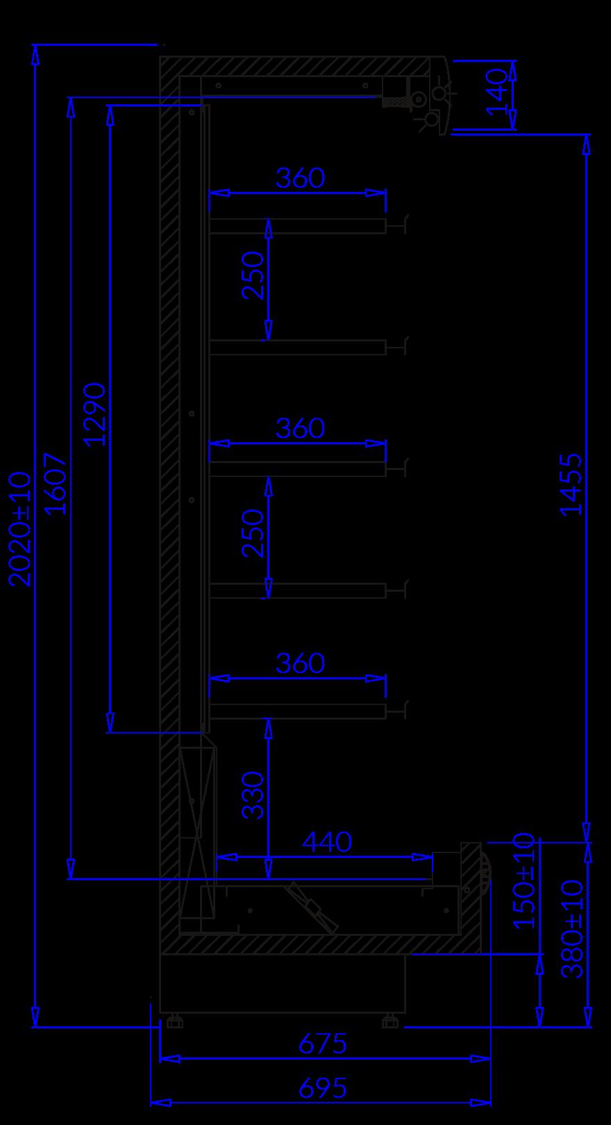 Rysunek techniczny Regał chłodniczy PAROS MOD C