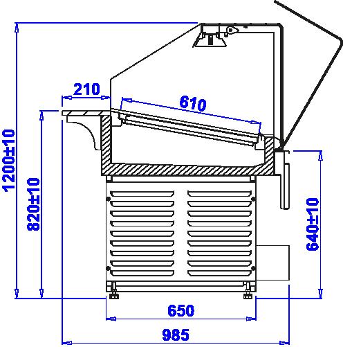 Rysunek techniczny Witryna grzewcza PASTELLA PG
