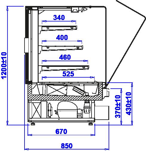 Rysunek techniczny Witryna cukiernicza PASTELLA SWEET MOD C