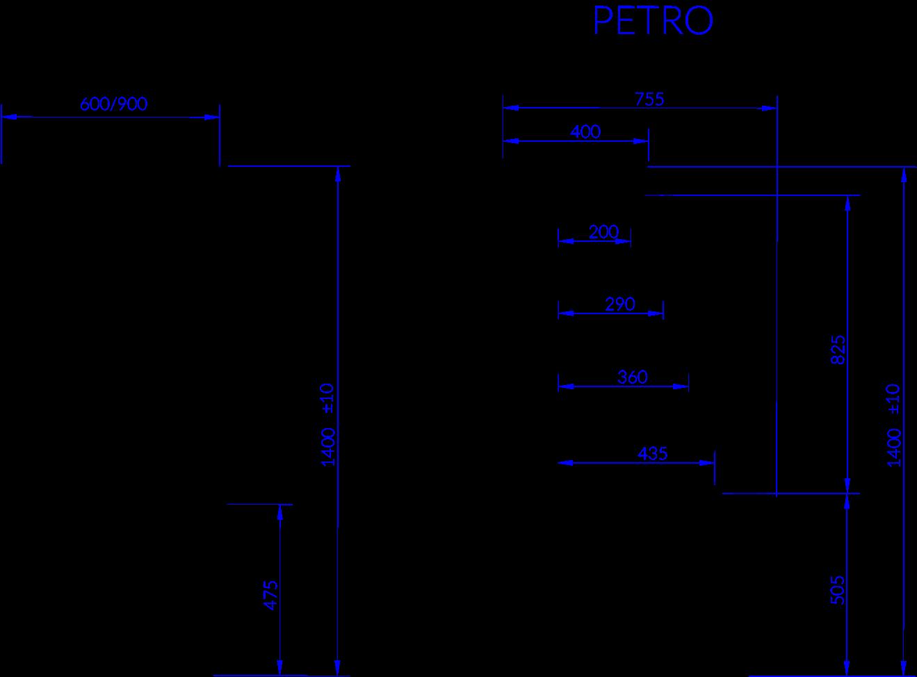 Rysunek techniczny Witryna chłodnicza PETRO