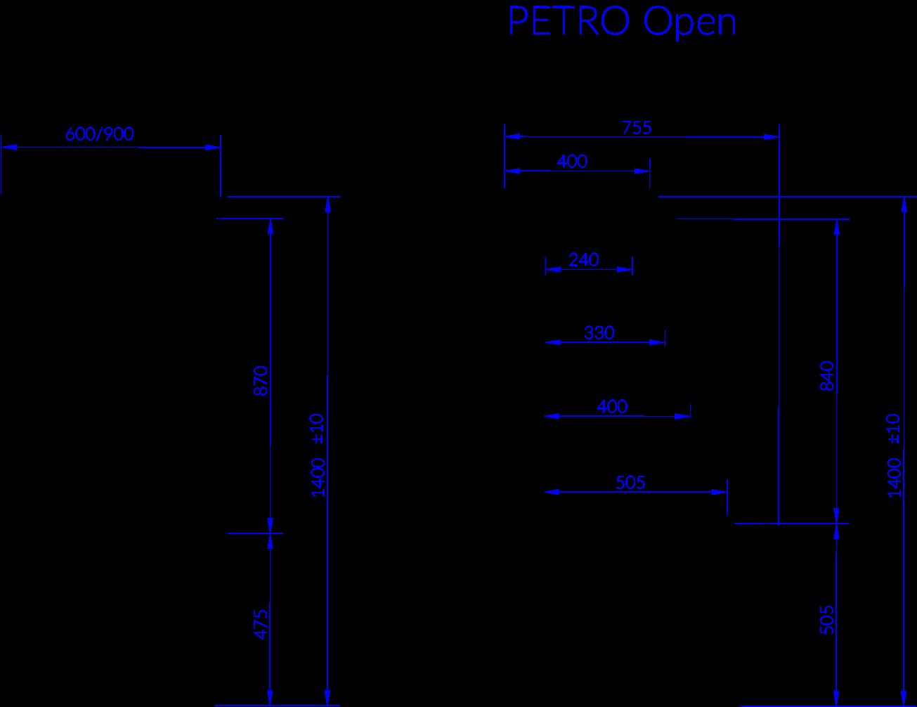 Rysunek techniczny Witryna chłodnicza PETRO OPEN