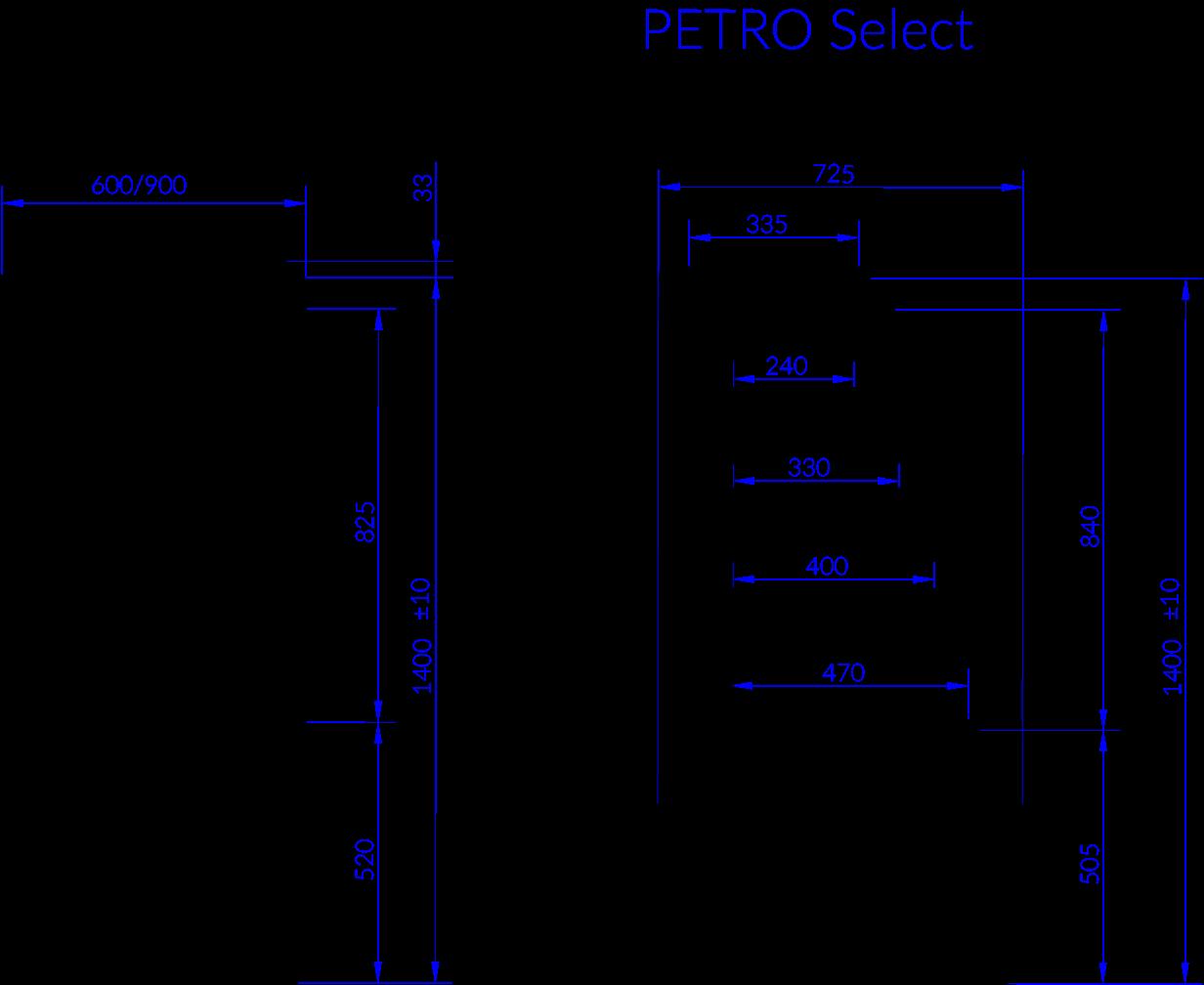 Rysunek techniczny Witryna chłodnicza PETRO SELECT