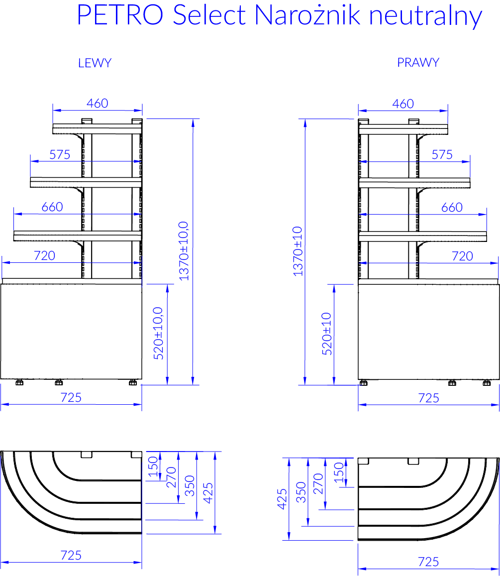 Rysunek techniczny Witryna chłodnicza PETRO SELECT NZ