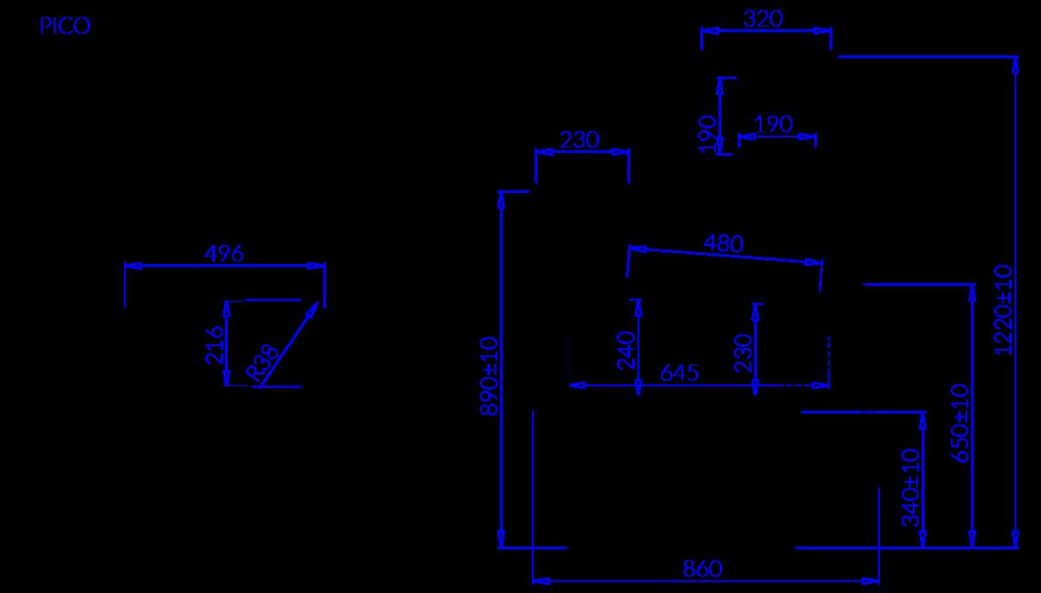 Rysunek techniczny Witryna chłodnicza PICO