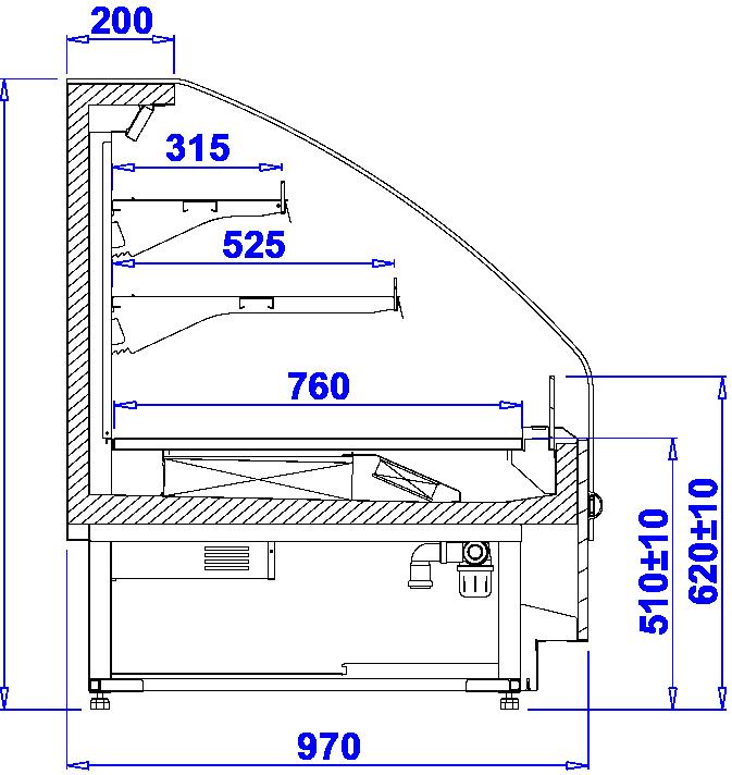 Rysunek techniczny Niski regał chłodniczy PROXIMA SLIM OPEN MOD C