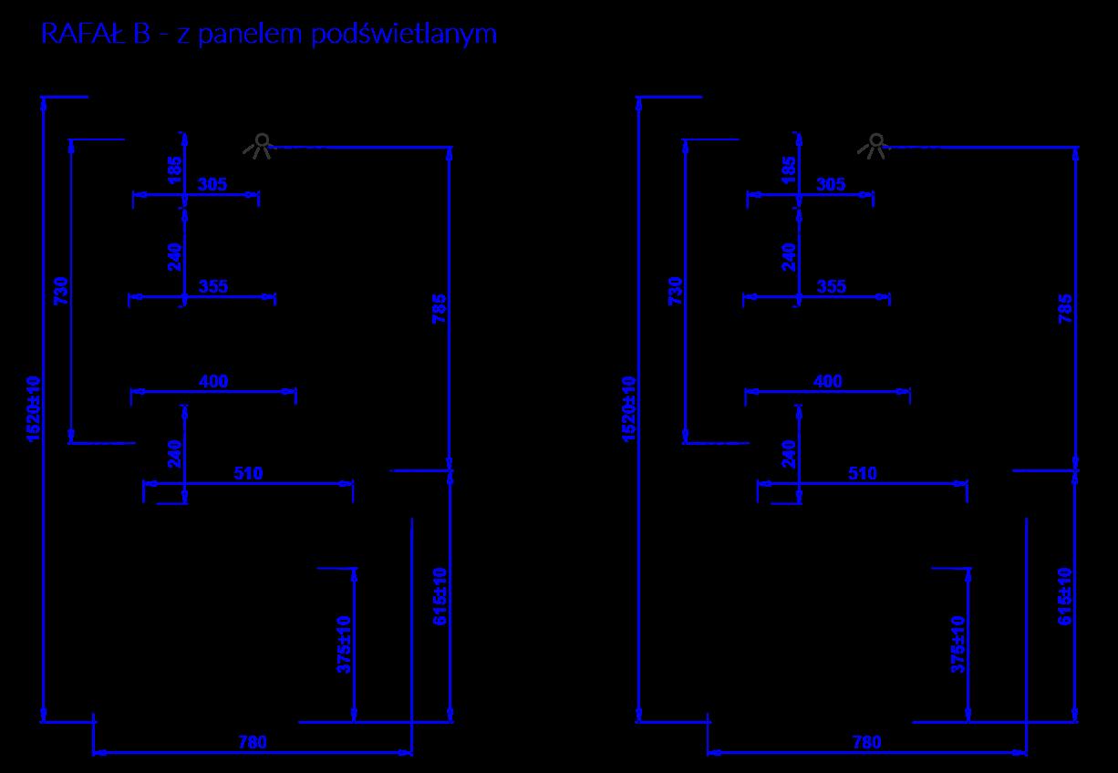 Rysunek techniczny Regał chłodniczy RAFAŁ B