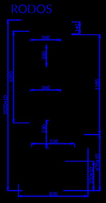 Rysunek techniczny Regał chłodniczy RODOS