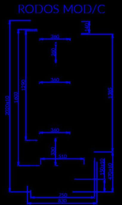 Rysunek techniczny Regał chłodniczy RODOS MOD C