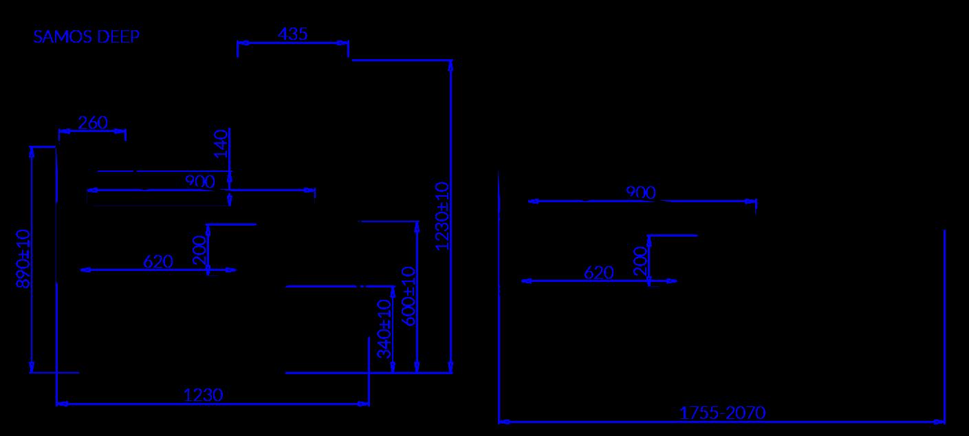 Rysunek techniczny Witryna chłodnicza SAMOS DEEP