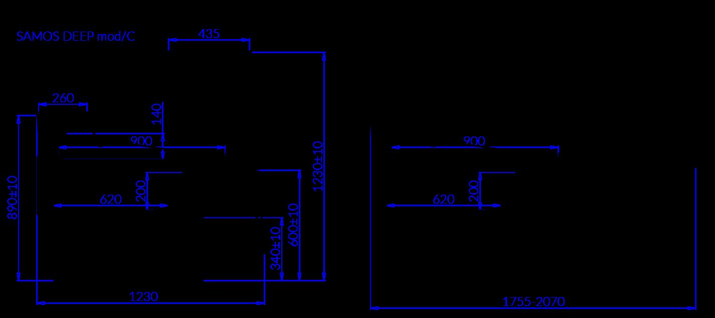 Rysunek techniczny Witryna chłodnicza SAMOS DEEP MOD C