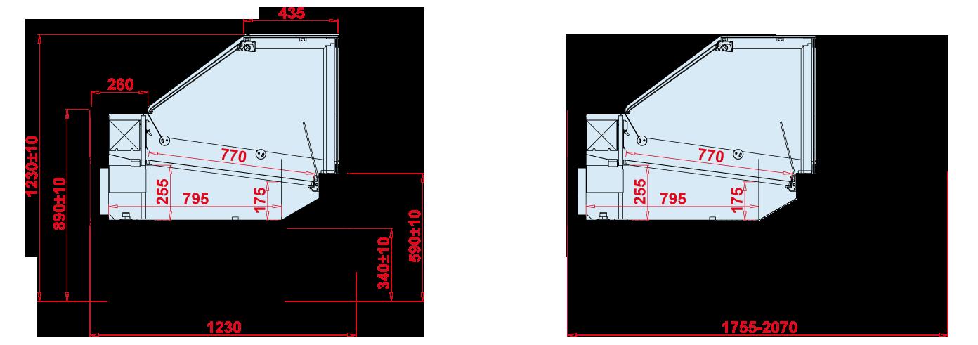 Rysunek techniczny Witryna chłodnicza SAMOS DEEP NZ90