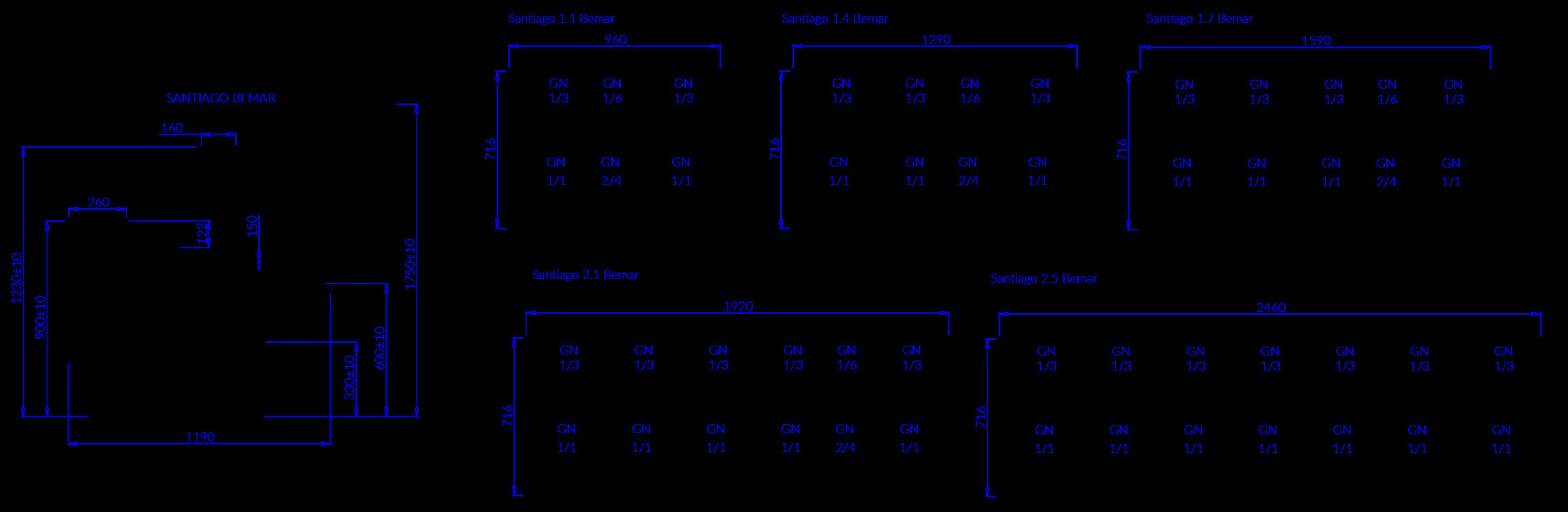 Rysunek techniczny Witryna grzewcza SANTIAGO B