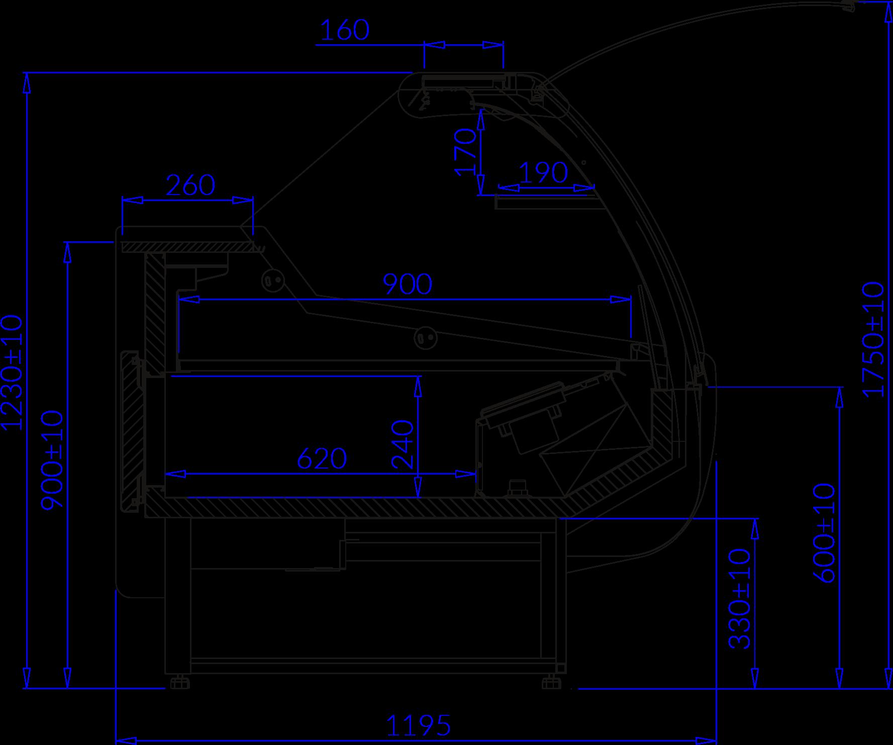 Rysunek techniczny Witryna chłodnicza SANTIAGO DEEP