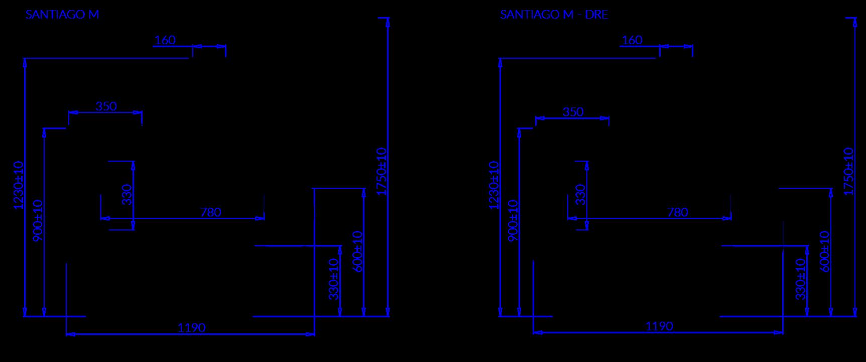 Rysunek techniczny Witryna mroźnicza SANTIAGO M MOD C