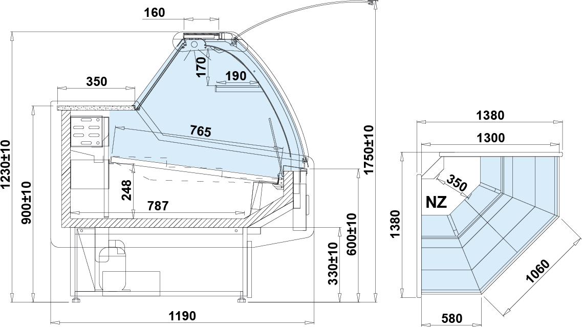 Rysunek techniczny Witryna chłodnicza SANTIAGO NZ W DRE