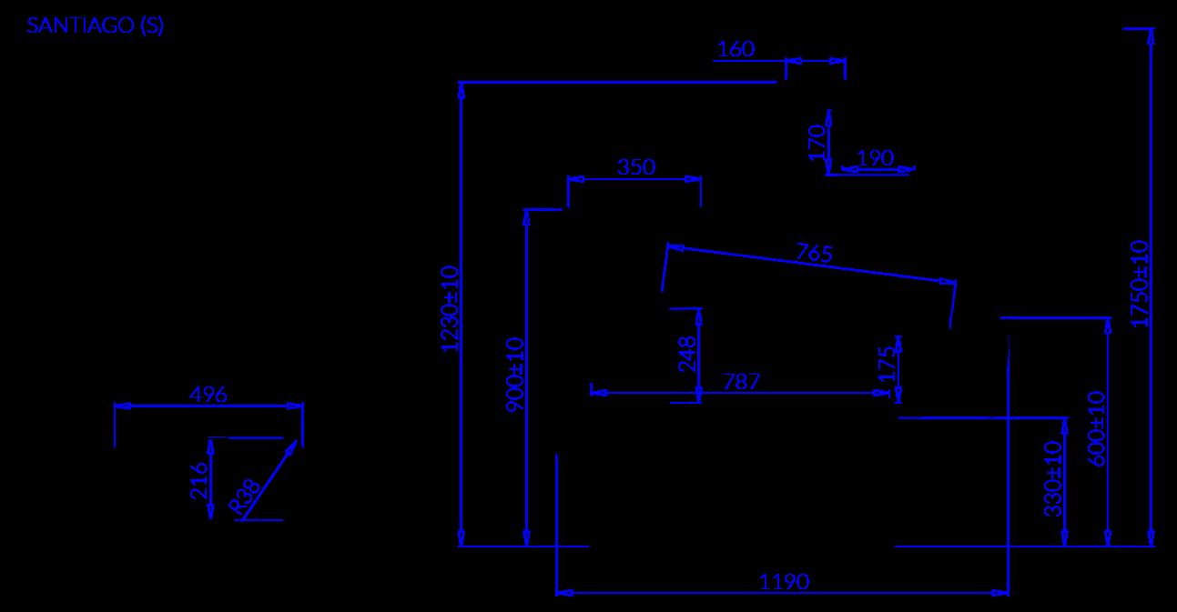 Rysunek techniczny Witryna chłodnicza SANTIAGO S MOD C