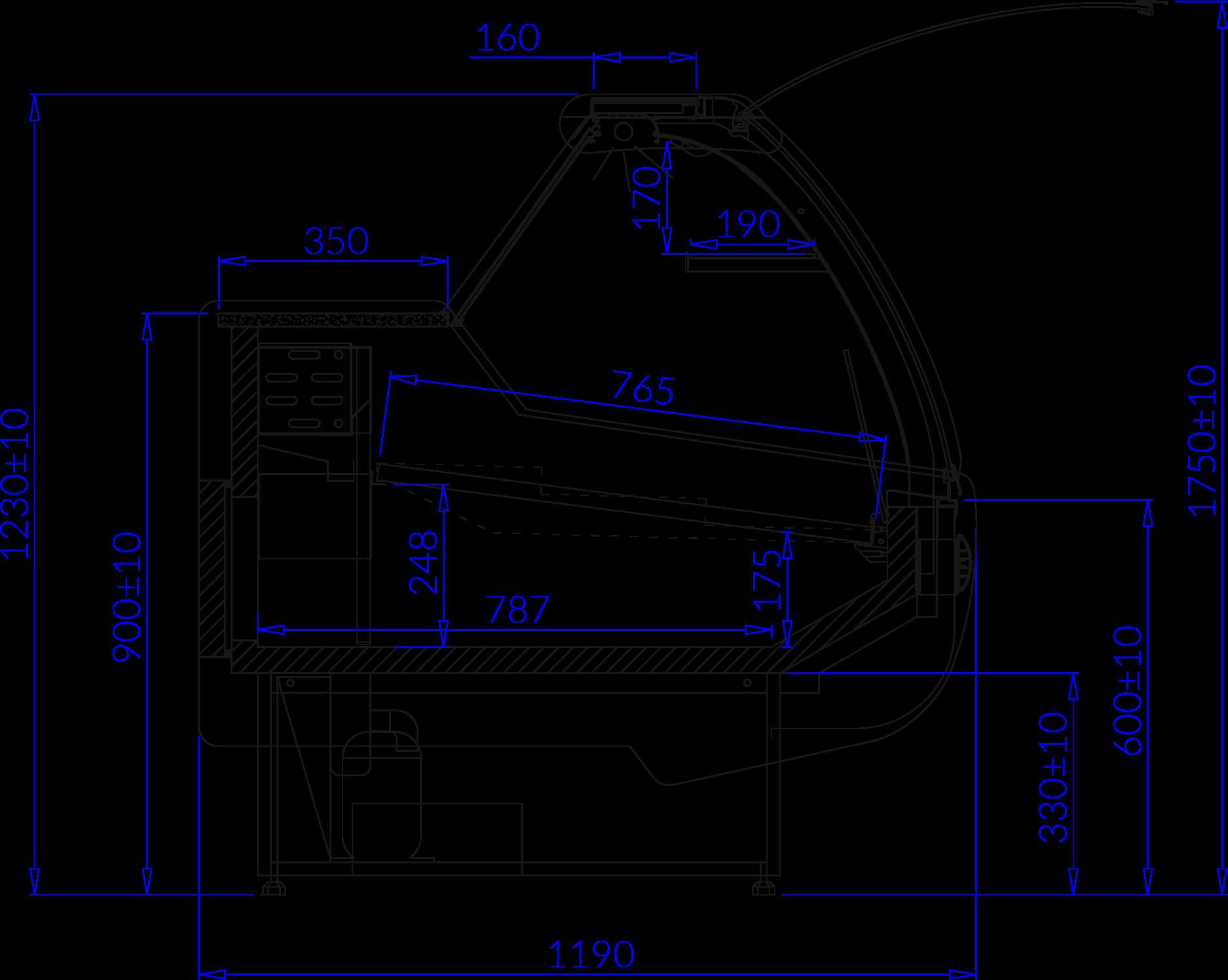 Rysunek techniczny Witryna chłodnicza SANTIAGO W