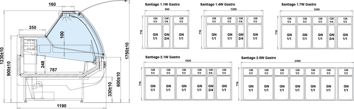Rysunek techniczny Witryna chłodnicza SANTIAGO W MOD C GASTRO