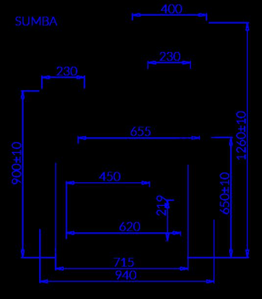 Rysunek techniczny Witryna chłodnicza SUMBA