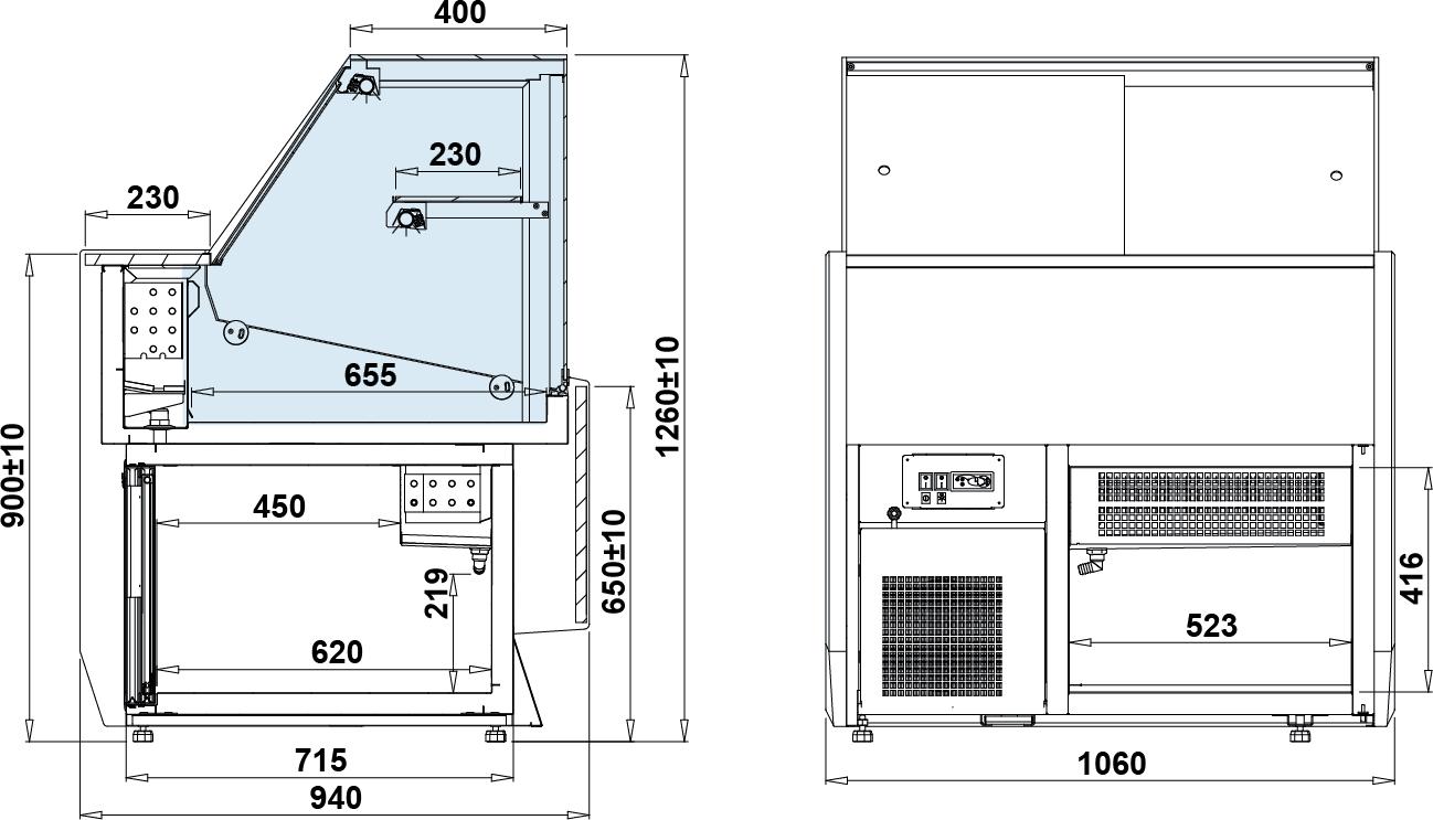 Rysunek techniczny Witryna chłodnicza SUMBA DRE