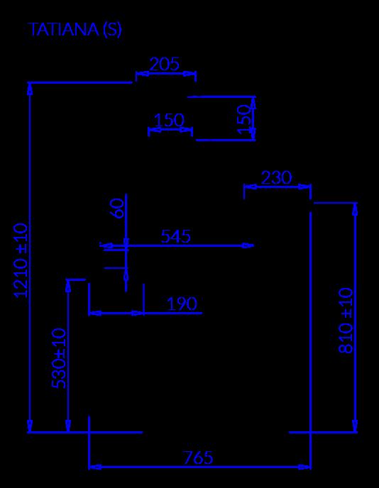 Rysunek techniczny Witryna chłodnicza TATIANA S