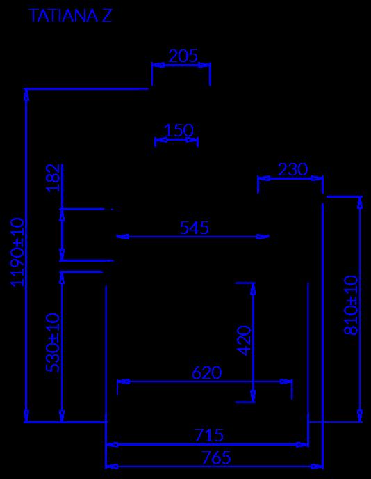 Rysunek techniczny Witryna chłodnicza TATIANA Z