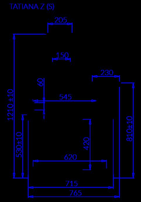 Rysunek techniczny Witryna chłodnicza TATIANA ZS