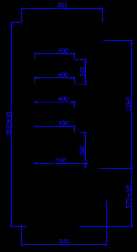 Rysunek techniczny Regał chłodniczy TIMOR