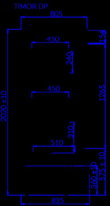 Rysunek techniczny Regał chłodniczy TIMOR DP