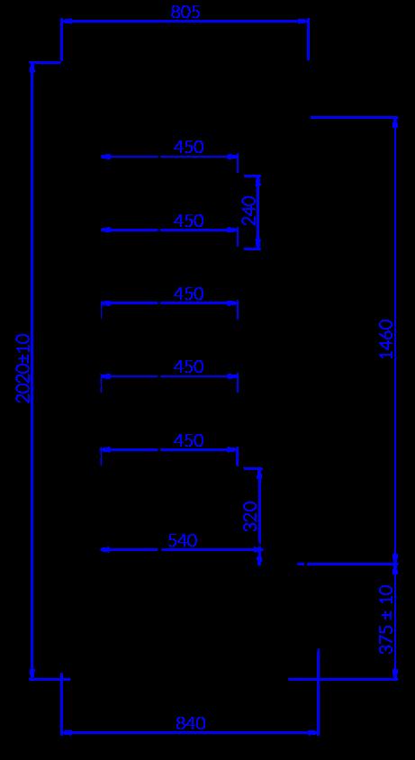 Rysunek techniczny Regał chłodniczy TIMOR DP MOD C