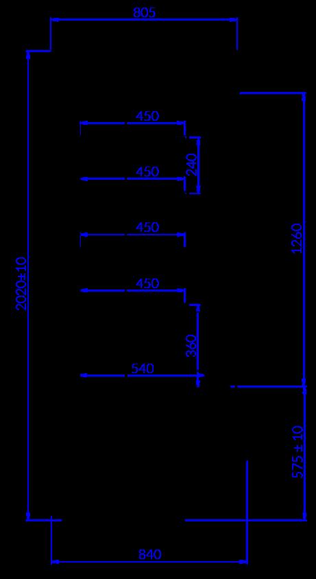 Rysunek techniczny Regał chłodniczy TIMOR DU