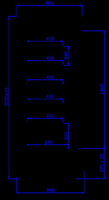 Rysunek techniczny Regał chłodniczy TIMOR DU MOD C