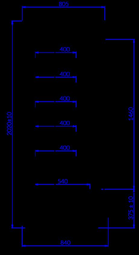 Rysunek techniczny Regał chłodniczy TIMOR MOD C
