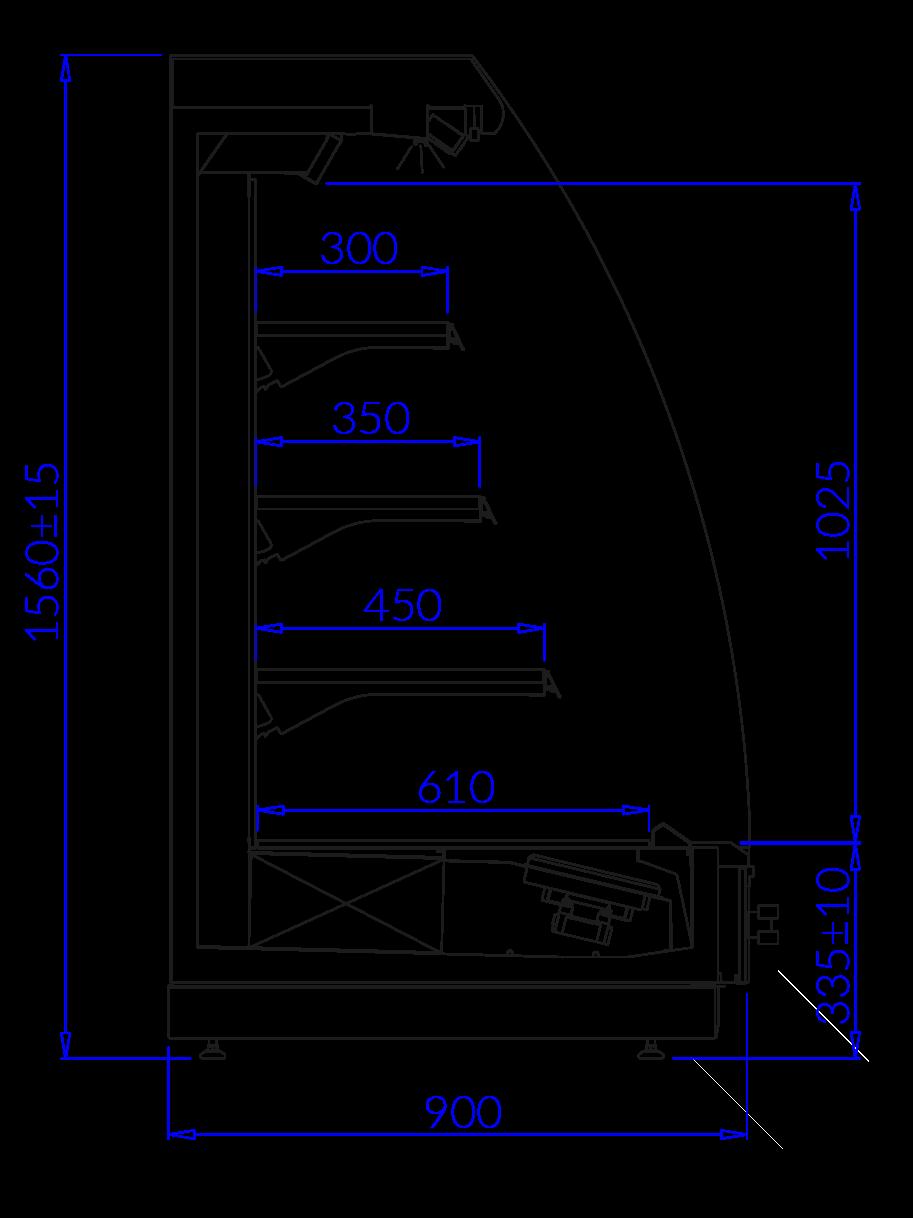 Rysunek techniczny Regał marketowy TOBAGO 2