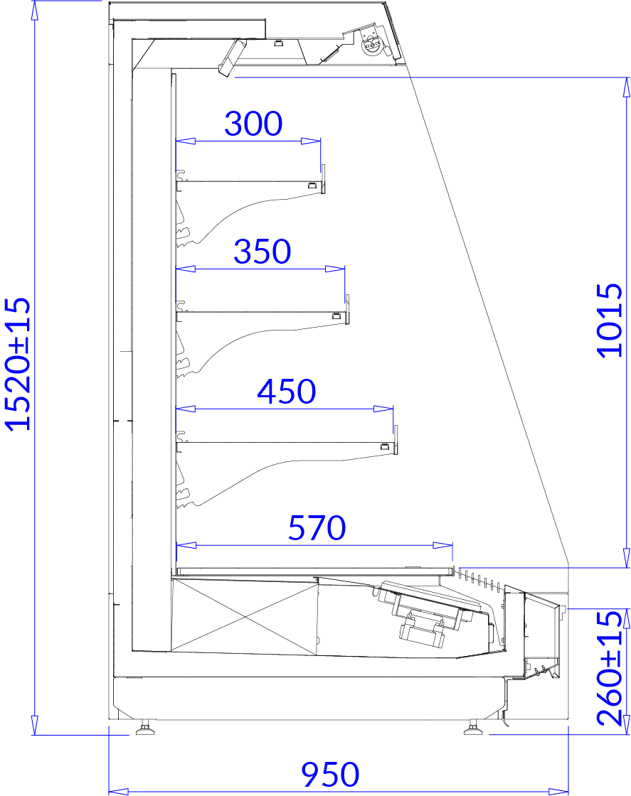 Rysunek techniczny Regał marketowy TOBAGO 3