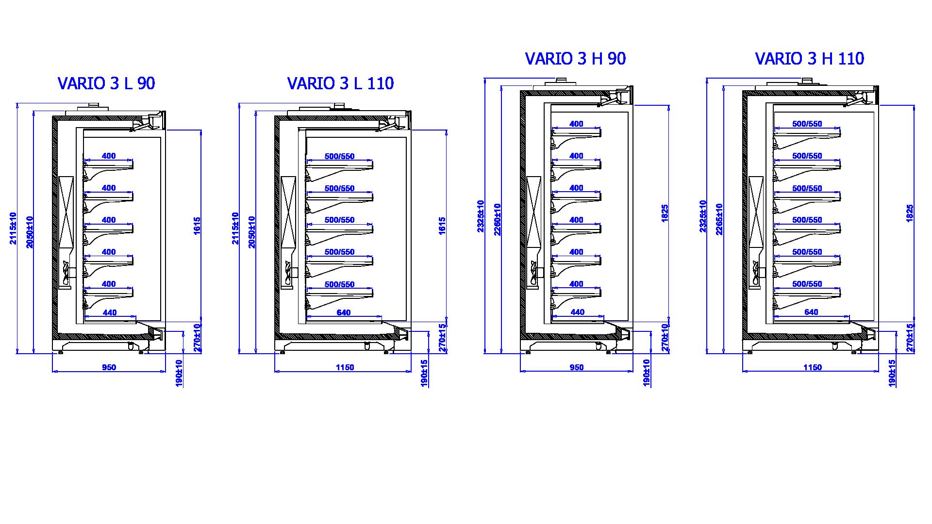 Rysunek techniczny Regał marketowy VARIO 3