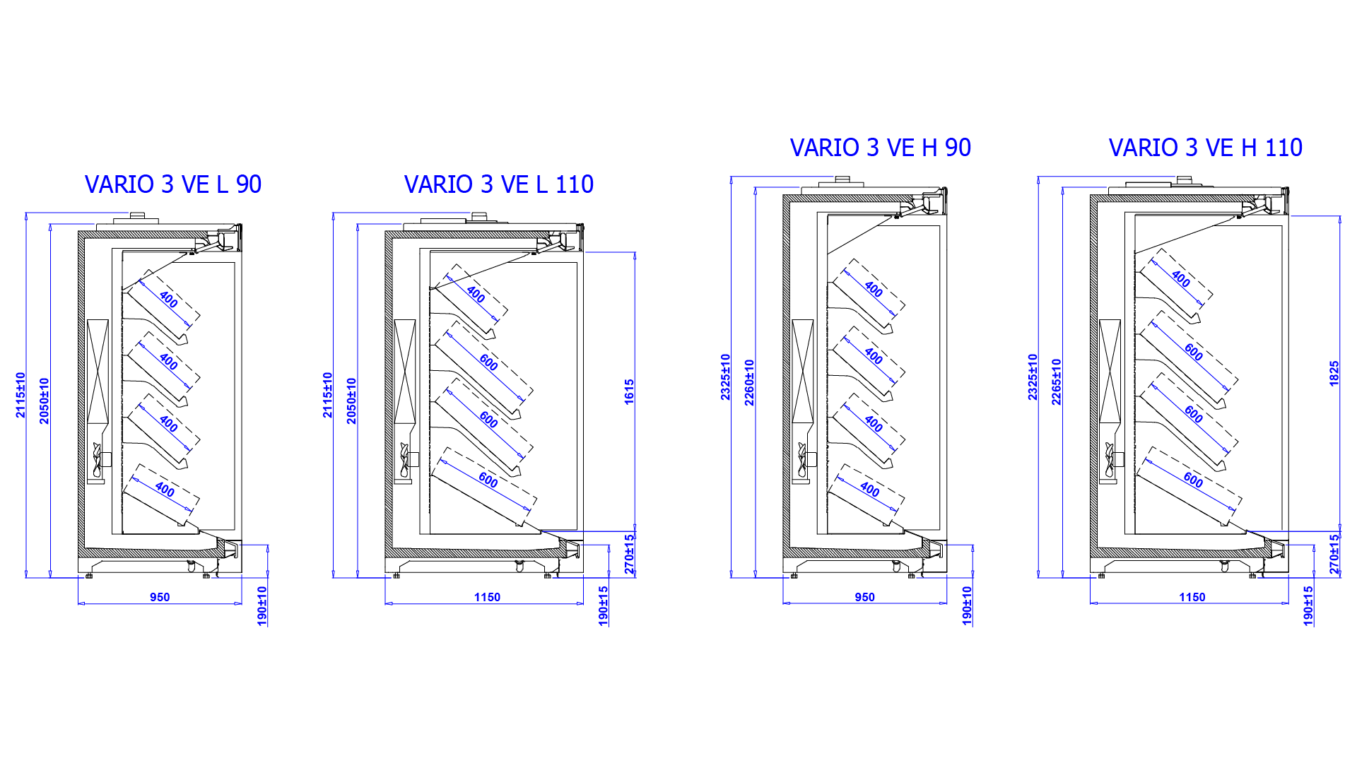 Rysunek techniczny Regał marketowy VARIO 3 VE
