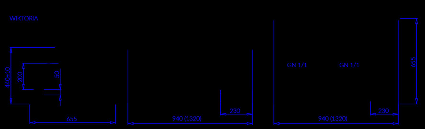Rysunek techniczny Witryna chłodnicza WIKTORIA