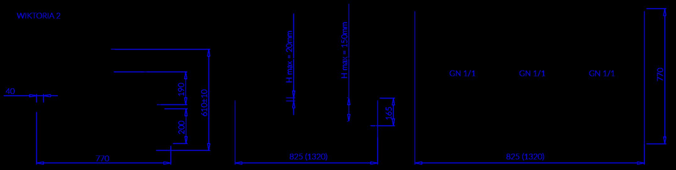 Rysunek techniczny Witryna chłodnicza WIKTORIA 2