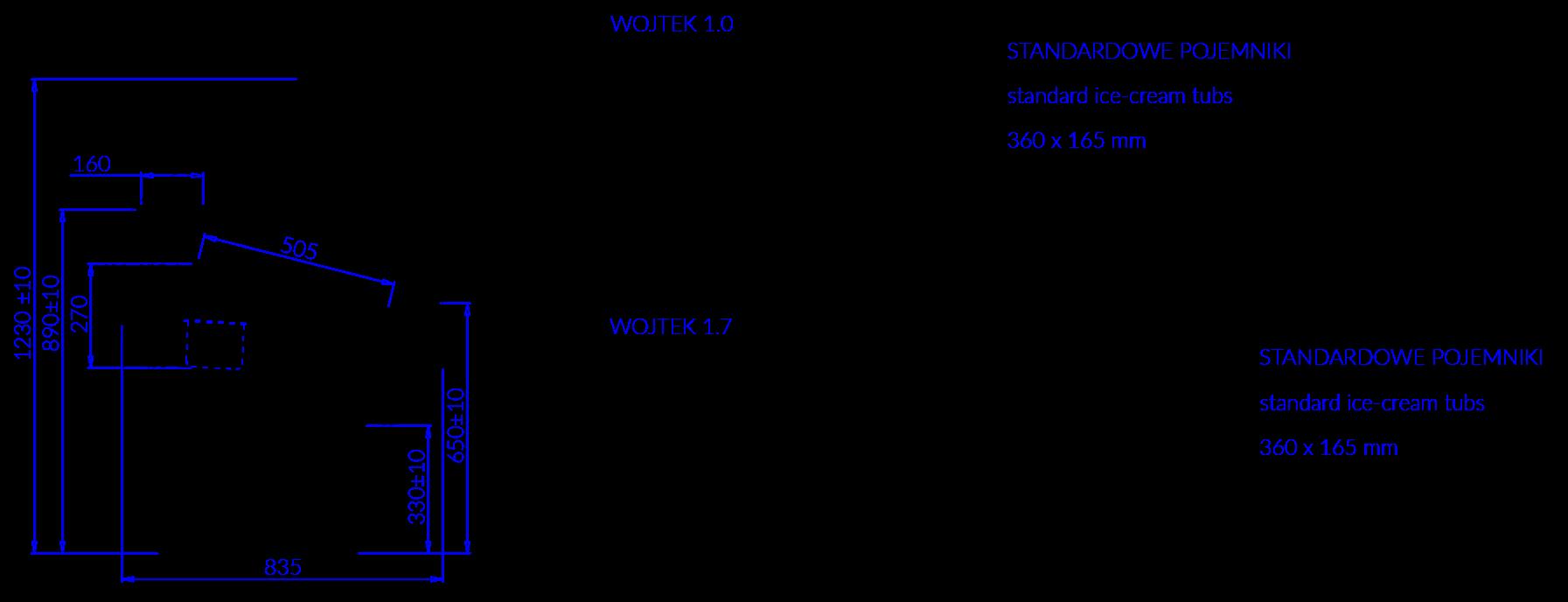Rysunek techniczny Dystrybutor do lodów WOJTEK