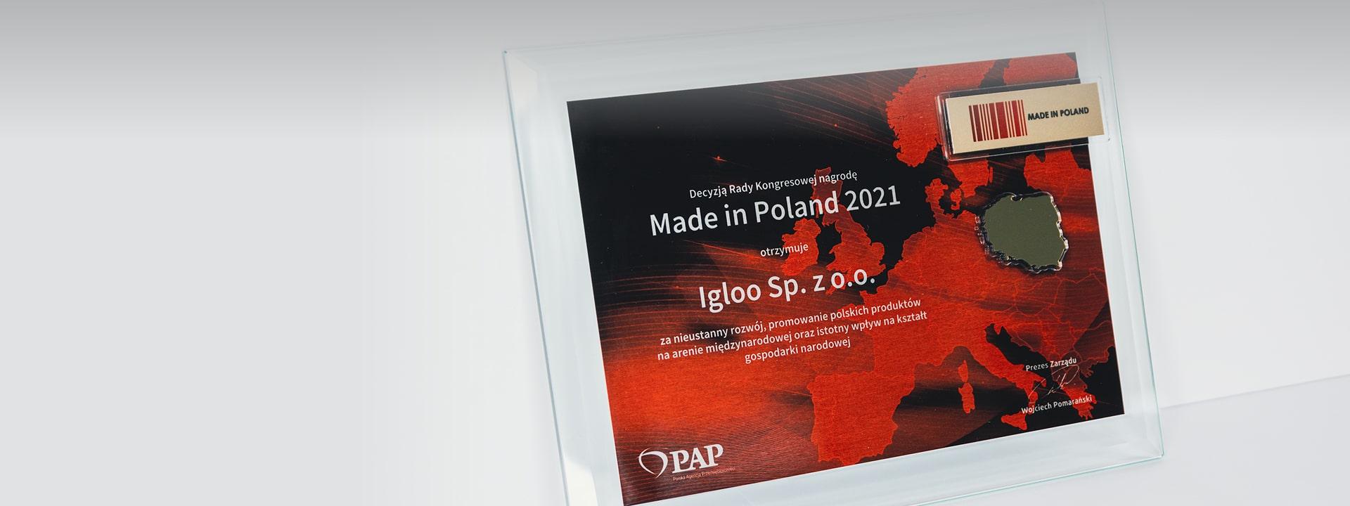 NAGRODA MADE IN POLAND dla firmy IGLOO sp. z o.o.