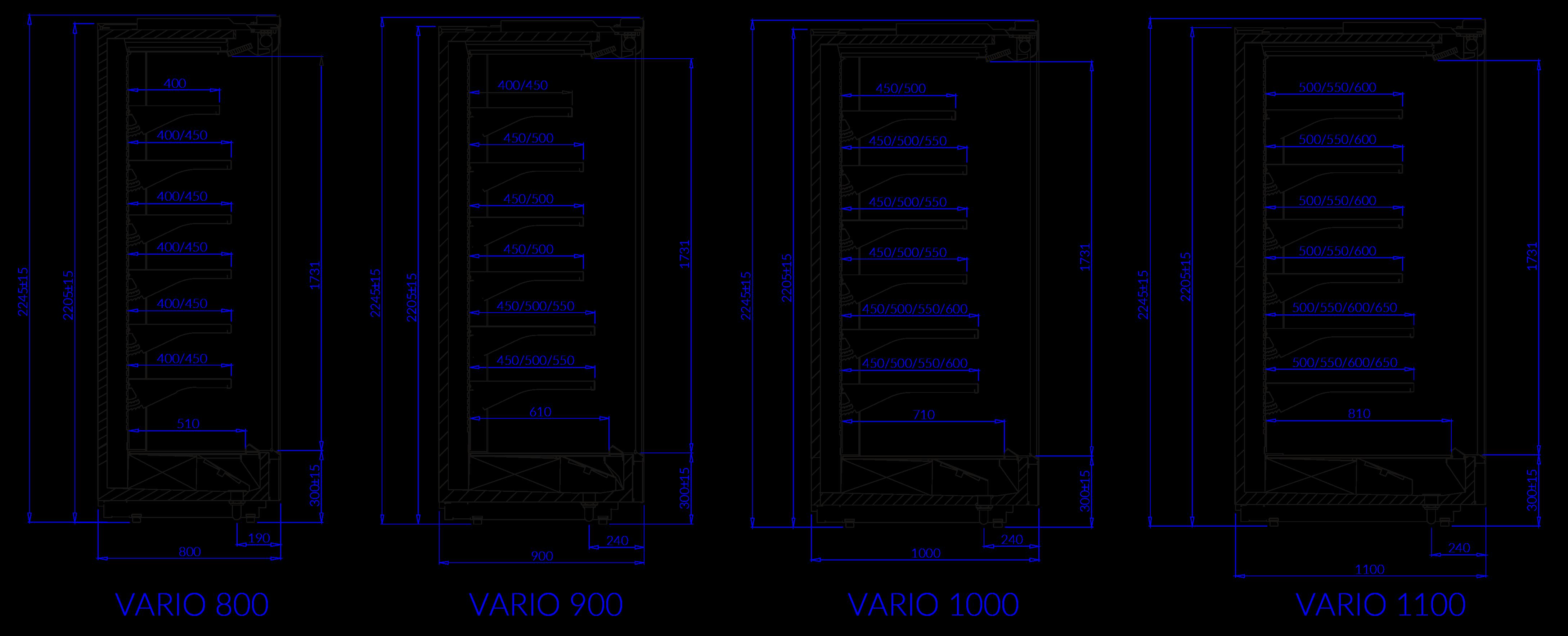 Technische Bezeichnung Kühlwandregale VARIO VARIO H
